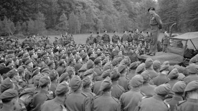 General Montgomery inspects the Royal Ulster Rifles