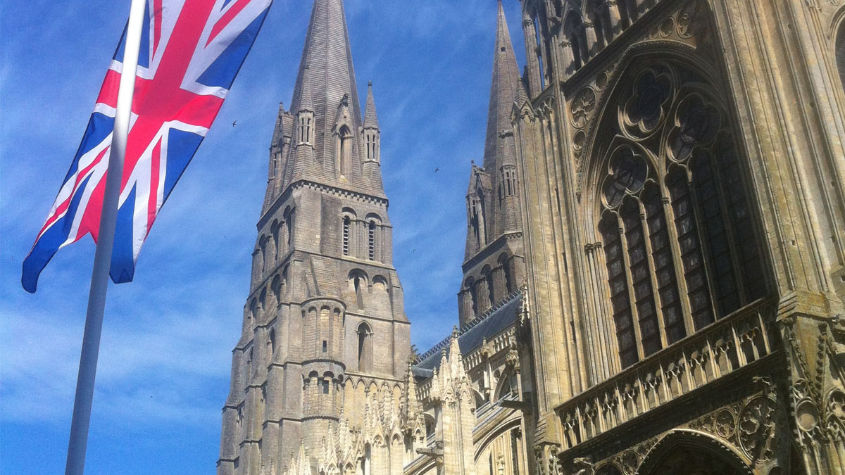 Flags at Bayeux Cathedral