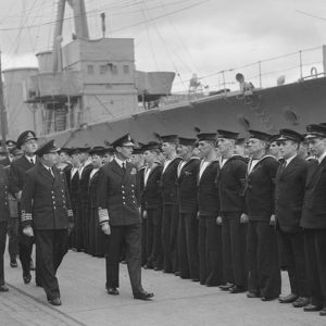 The King and Queen inspect HMS Caroline