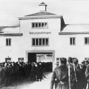 Prisoners at the gates of Sachsenhausen