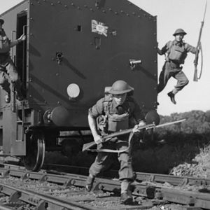 British Soldiers Training On Armoured Trolley