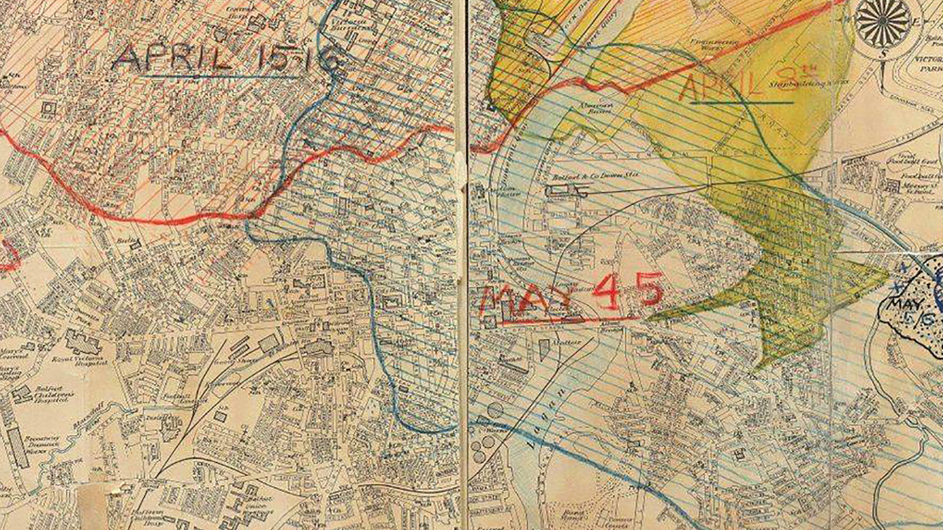 Map of areas affected by the Belfast Blitz