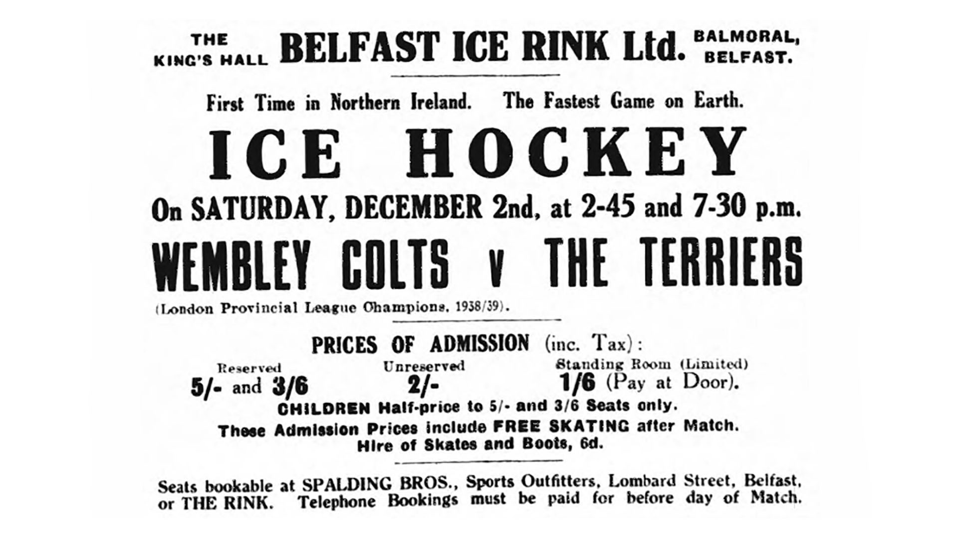 Ice Hockey Advert from 1939