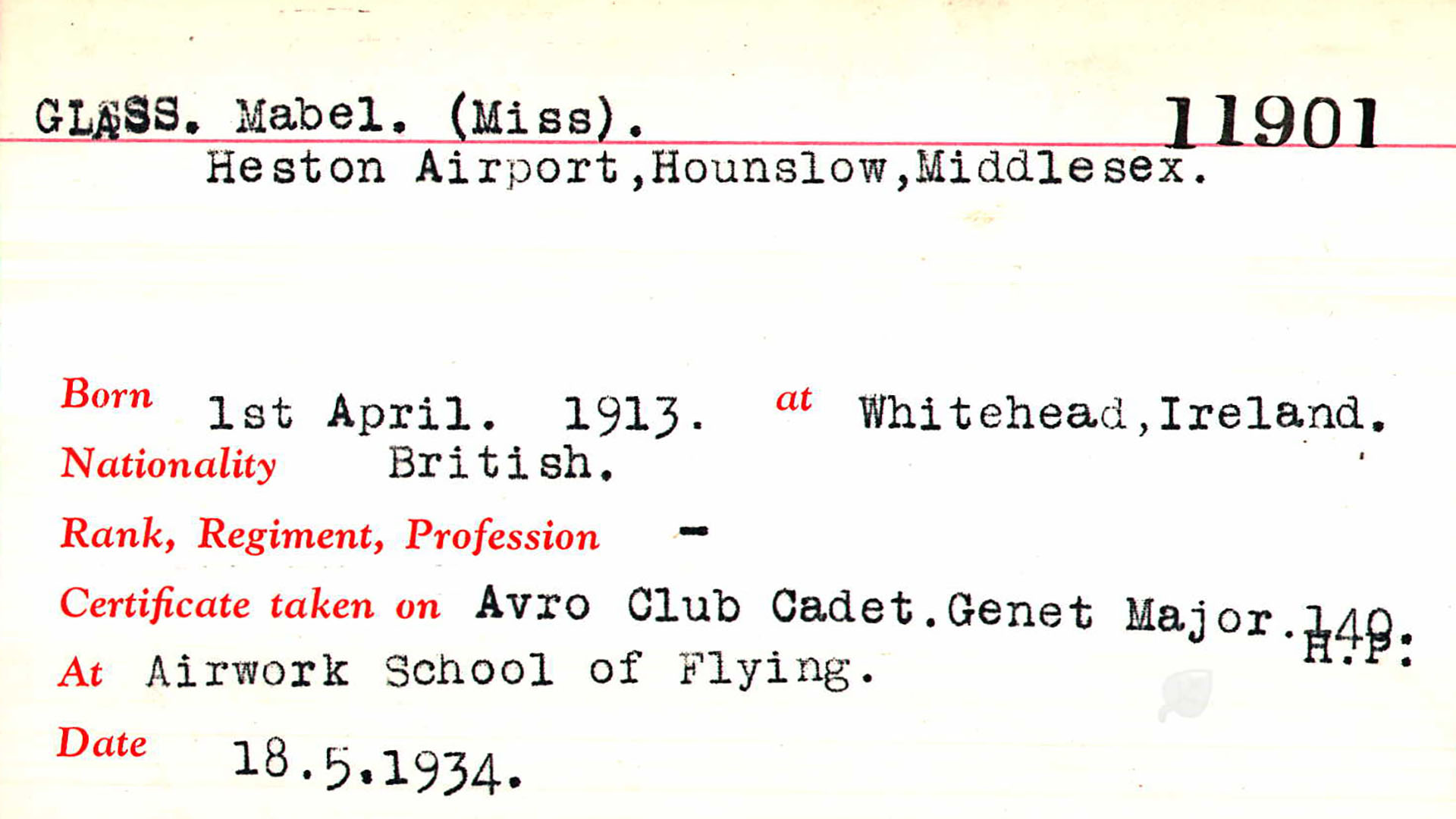 Aviation Documents of Mabel Glass