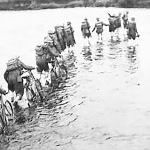 British Army Cyclists cross the River Maine