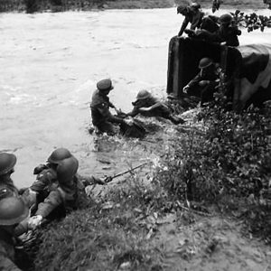 Royal Artillery lorry in difficulties in the River Strule
