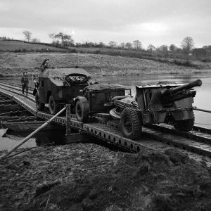 Military vehicles on the River Bann